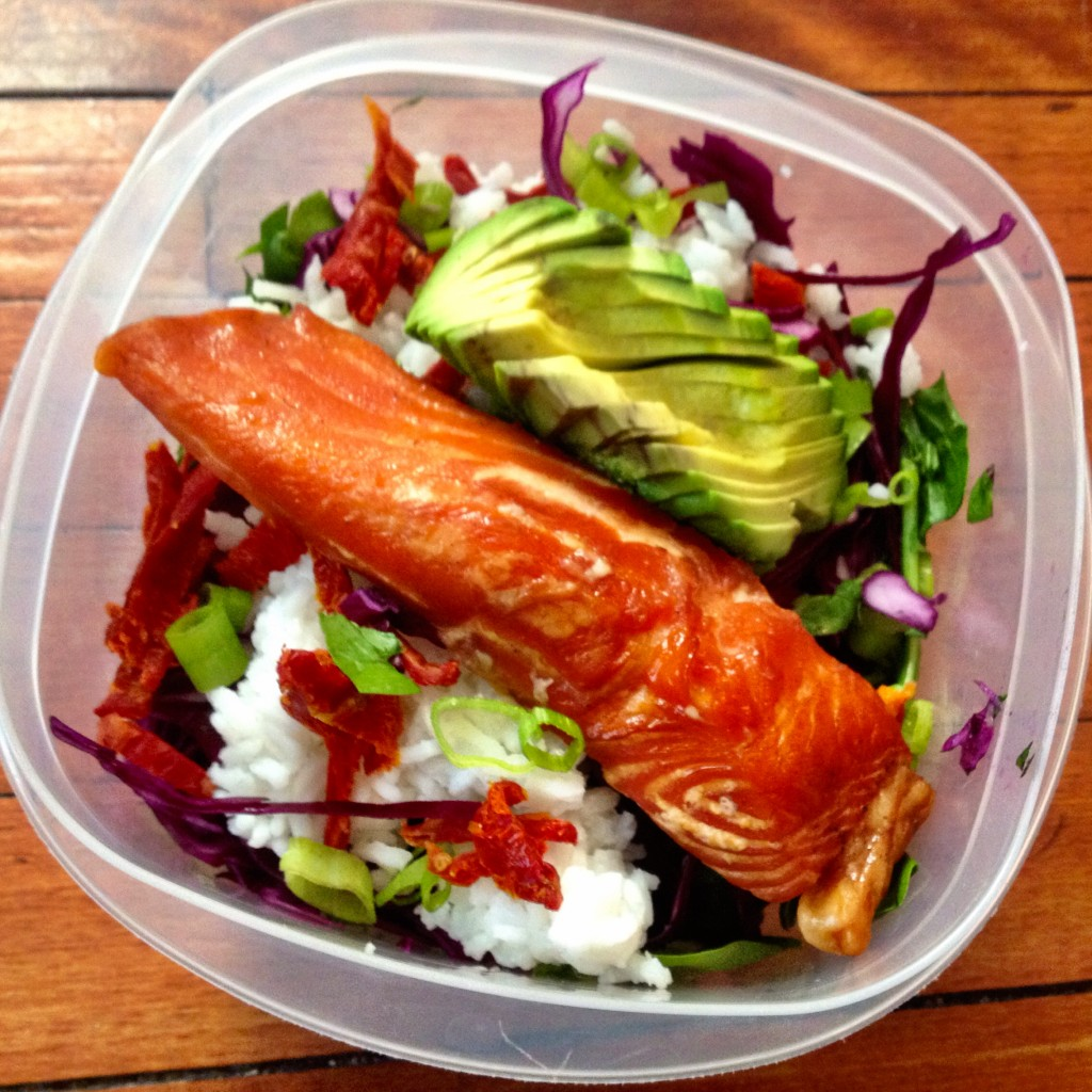 Salad Smoked Salmon Rice Avocado