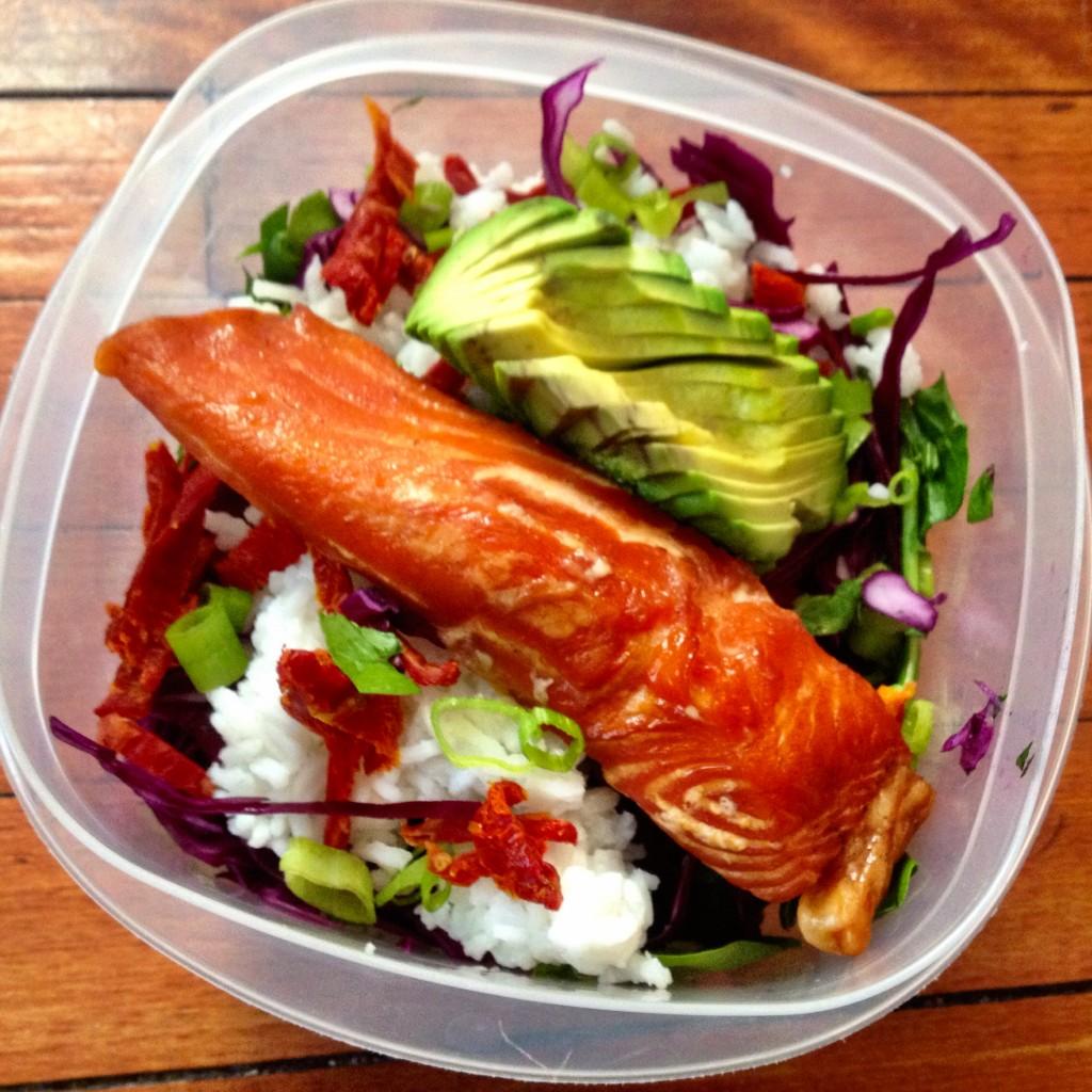 Salad Smoked Salmon Rice Avocado