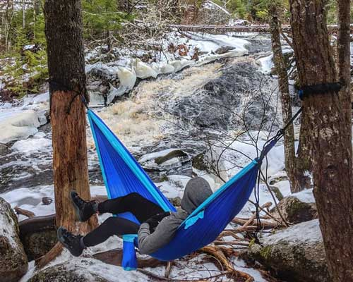 Hammock at Waterfall, Nichols Lake Hiking Trail